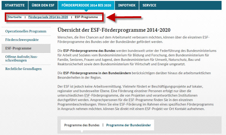 Screenshot ESF-Programme