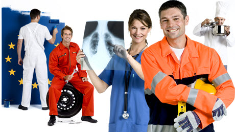 Young people of different professions