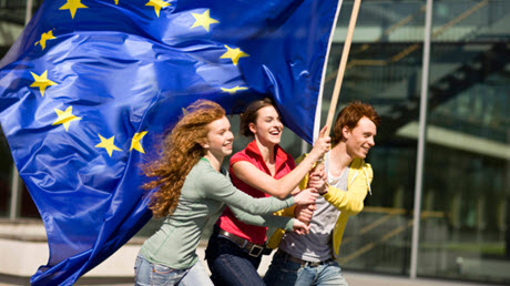 Young people with european flag